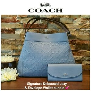 NEW Coach Signature Leather Lexy & Envelope Wallet
